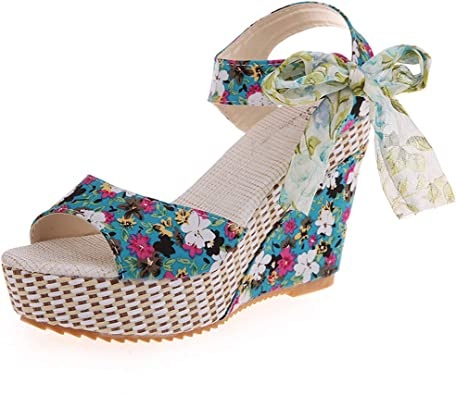 ZEZKT Sandales Femmes Talons Compenses Fleur Imprimé Bout Ouvert Chaussures de Plage Bohême Chic Élégant Femmes Semelles Compensées Sandales Été