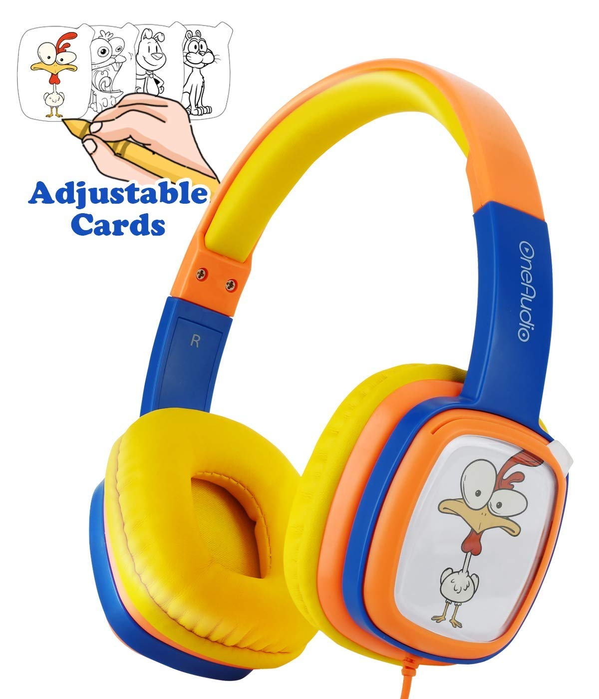 OneOdio Kids On-Ear Headphones; OneAudio Comfortable 85dB Sound Limiting Wired Headsets Lightweight Customizable Cartoon Painting DIY with 3.5 mm Jack for Toddler/Airplane/Children