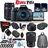 Canon EOS Rebel T6i DSLR Camera w/18-55mm Lens International Version (No Warranty) + Canon 55-250mm IS STM Lens + Sigma 85mm f/1.4 DG HSM Art Lens for Canon EF 321954 + Deluxe Cleaning Kit Bundle