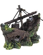 Ornamento Acuario - TOOGOO(R) Barco de Pesca del Ornamento del Acuario Decoracion Para Fish Tank, 100% Sguro para la Dcoracion de Tanque de Pez