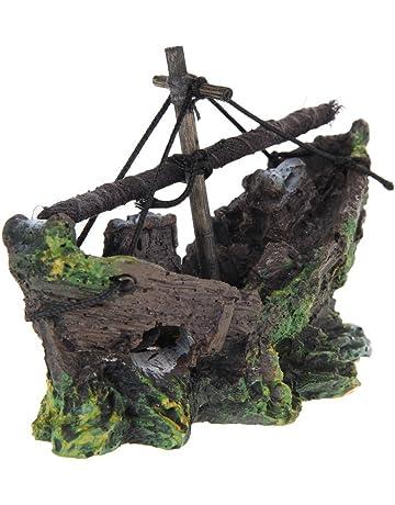 Ornamento Acuario - TOOGOO(R) Barco de Pesca del Ornamento del Acuario Decoracion Para