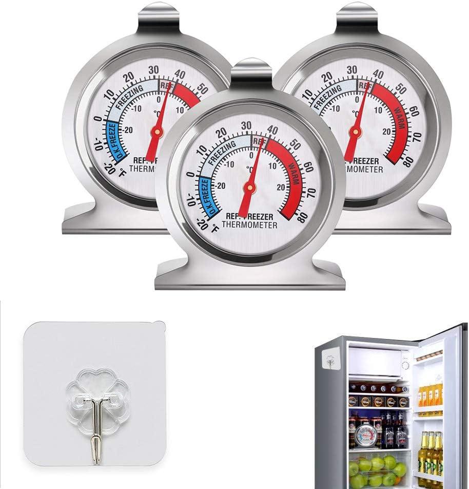 Lifreer Termómetros de Nevera 3PCS Acero Inoxidable Refrigerador ...