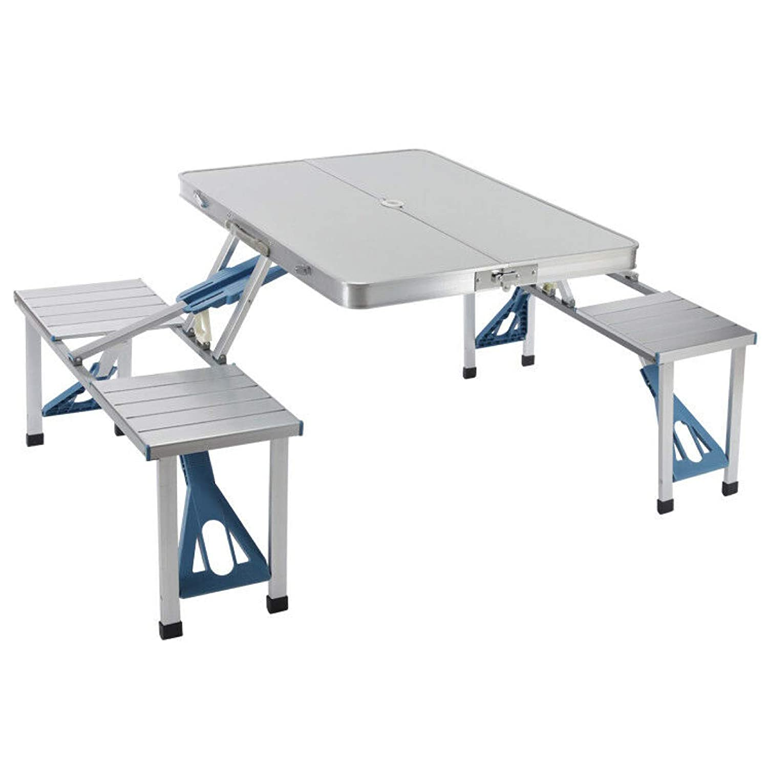 Cypress Shop Folding Table Camping Picnic Table Aluminum Table Dining Table Camping Table Picnic Table Portable BBQ Picnic Barbecue Party Dining Camping Table RV Trips Party (with 4 Seats)