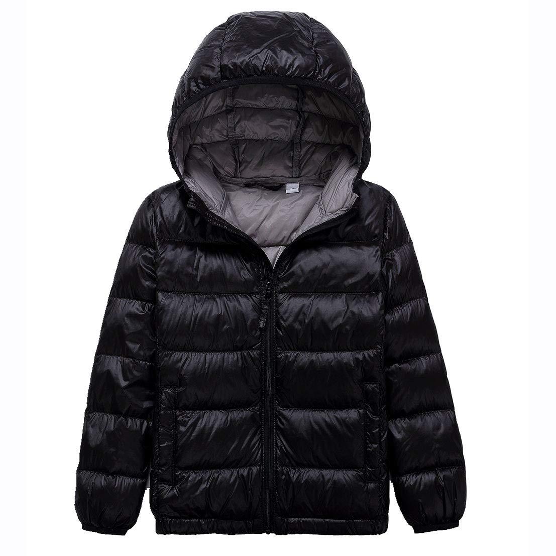 LANBAOSI Kids Winter Lightweight Puffer Jacket Boys Girls Packable Down Jacket with Hood Warm Children Coats