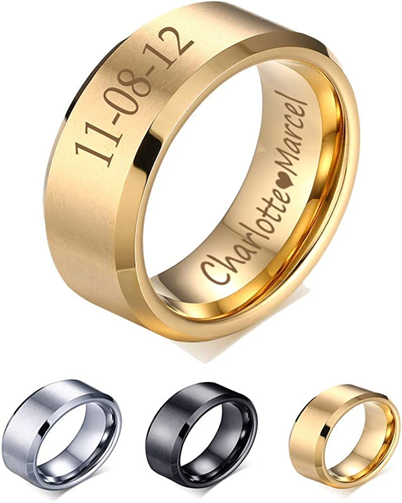 XUANPAI Custom Personalized Tungsten Carbide Brushed Wedding Engagement Promise Rings