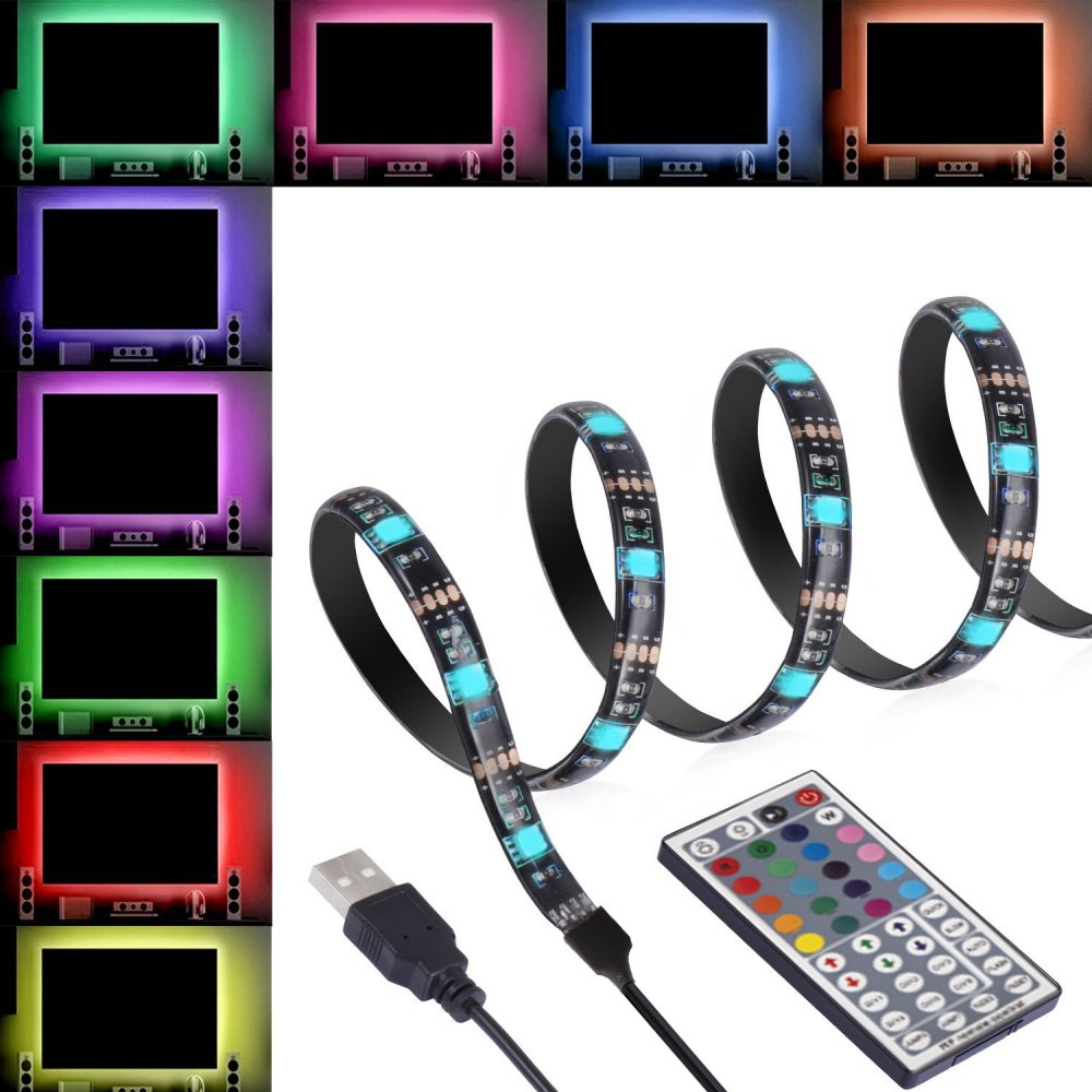 ANSCHE 3M(9.84ft) TV Backlight Kit, LED TV RGB Strip Lighting for HDTV Remote Control 20 Color&Mode Bias Mood Lights USB Powered Stick-on Rope Light Ambient Decoration IP65 Waterproof by ANSCHE
