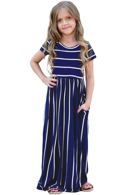 Feilvvv Children Kids Girls Casual Striped Long Maxi Dress with Pockets Summer Beachwear 4-13 Years