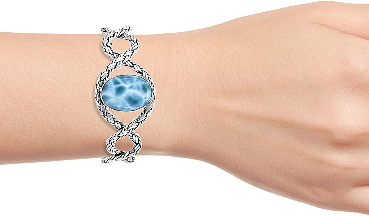 925 Sterling Silver Oval Larimar Cuff Bangle Bracelet Mothers Day Gifts Jewelry for Women Size 7.25