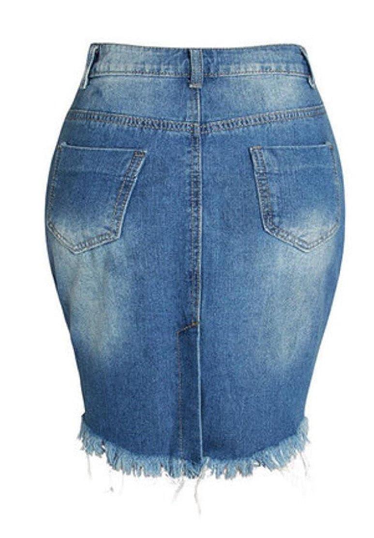 X-Future Womens Back Split Hole Ripped A-Line High Waist Denim Shorts Skirts