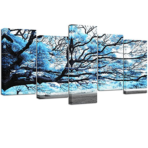 Visual Art Decor Large Canvas Painting Prints Framed 5 Pieces Blue Tree Landscape Wall Art for Modern Home Office Wall Decoration