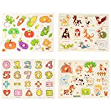 Acefun 4 Pcs Wooden Jigsaw Peg Puzzle Board Toy Educational and Learning Puzzles Toy - Number, Vegetable, Village and Animal