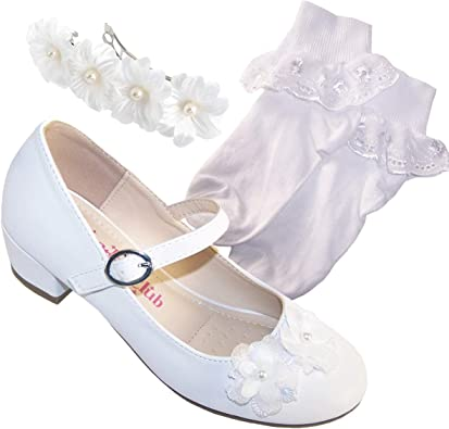 Girls Children Sparkly Ivory Heeled Flower Girl Bridesmaid Special Occasion Shoes