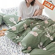 VClife 3 PCS Floral Duvet Cover Sets Cotton Cactus Design Bedding Sets for Kids Adults Soft Green Bedding Collection, Queen