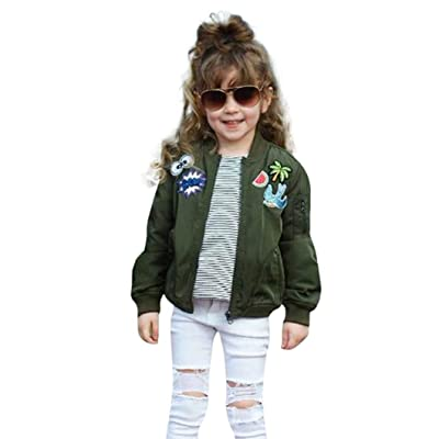 Konfa Girls Stylish Cartoon Embroidery Jacket,Suitable For 1-7 Years Old,Winter Warm Outwear Clothes