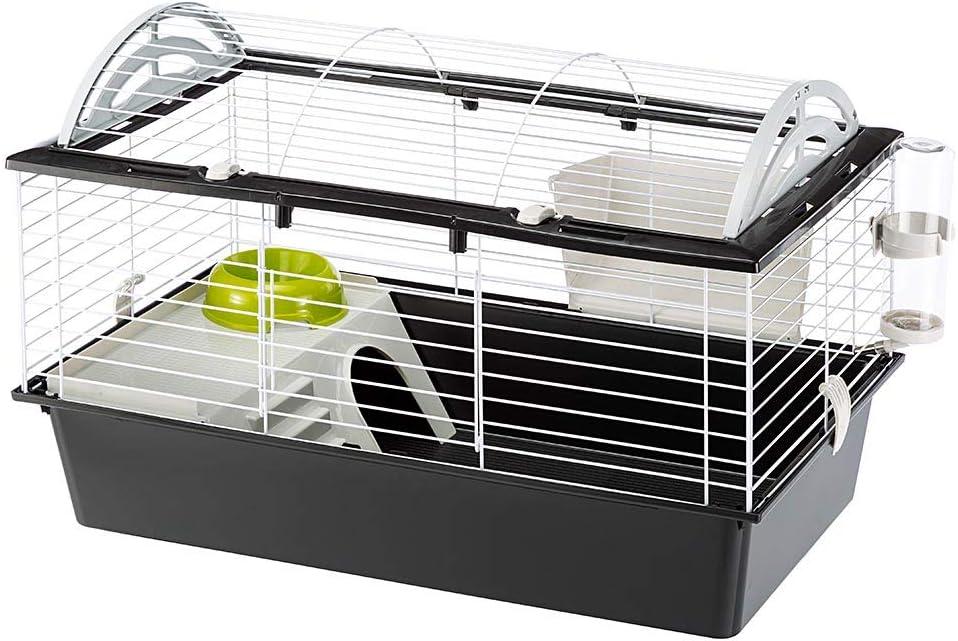 Ferplast Jaula para conejos CASITA 80  para conejillos de Indias y pequeños animales, accesorios incluidos, de alambre pintado blanco y plástico, 78 x 48 x h 50 cm