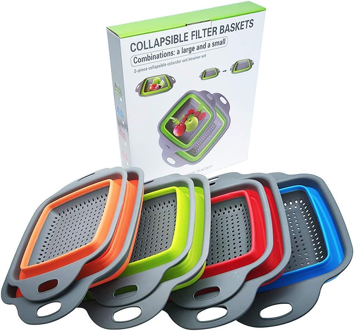Space Saving Folding Vegetable Collander Fruit Basket Food Pasta Strainer For Kitchen, Camping, Large + Small (Square, Blue)