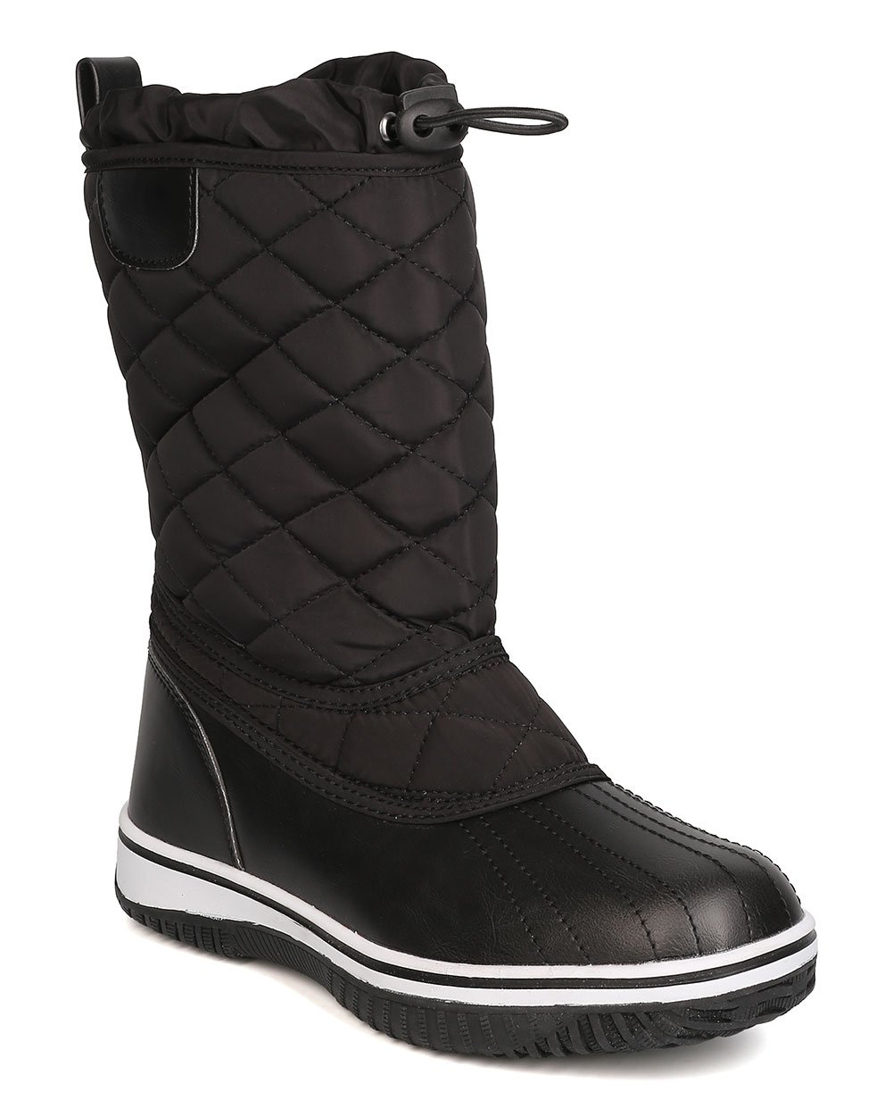 Refresh Women Mixed Media Quilted Drawstring Snow Boot GB12 B01N1SIFM2 6.5 M US|Black