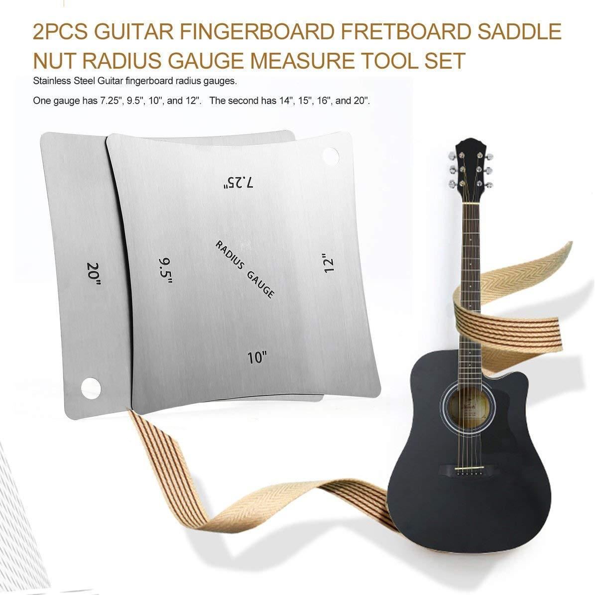 2pcs Durable Stainless Steel Guitar Saddle Nut Radius Gauge Design