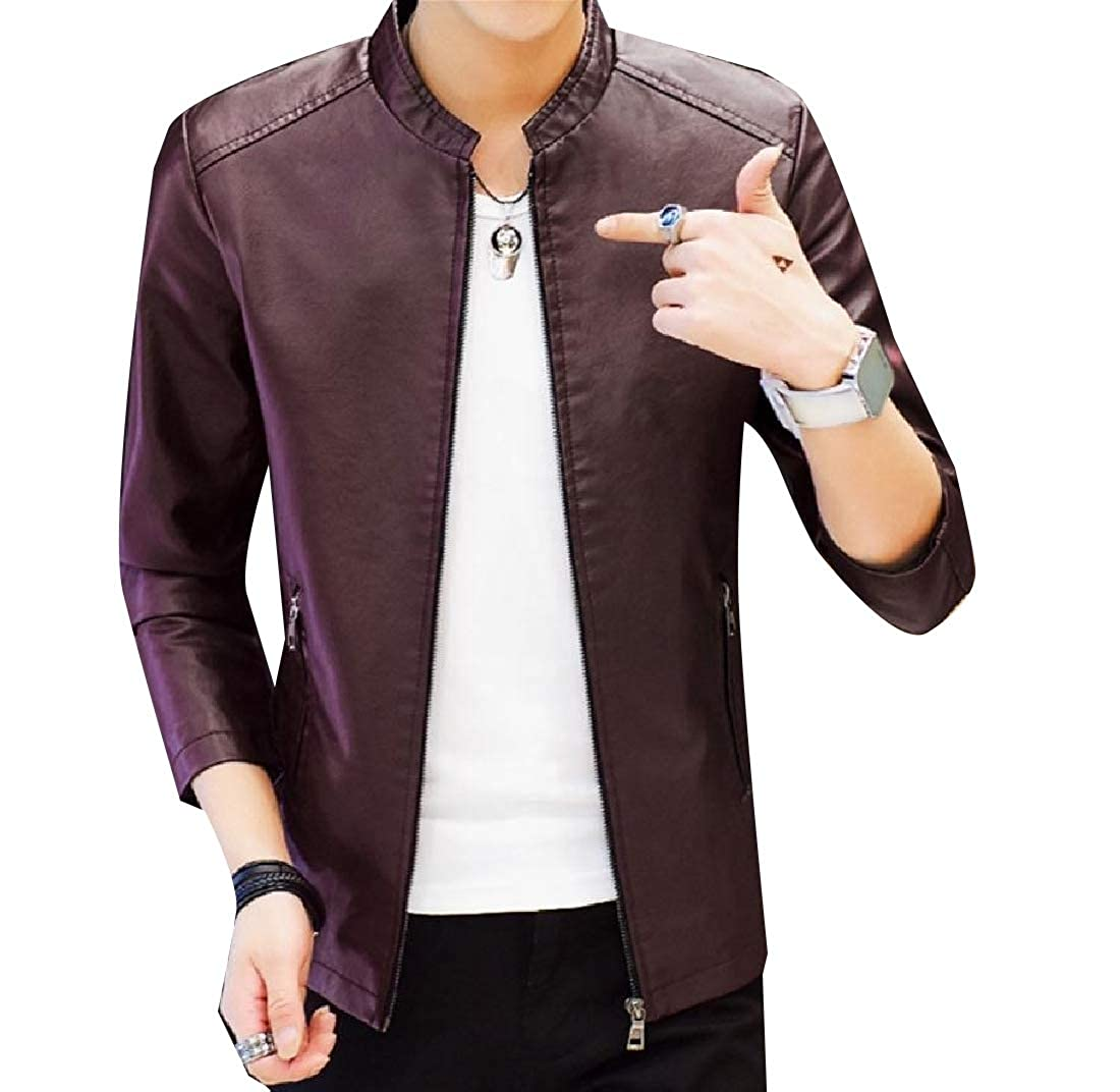 Buildhigh Men Stand Collar Faux-Leather Moto Baseball Faux Fur Coats