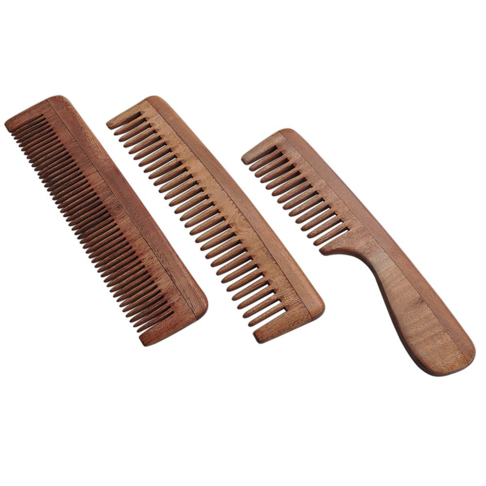 Set of 3 Pure Neem Wood Combs for Strong and Shiny Hair | Wide Tooth Neem Comb For Hair and Scalp Care | Fine Tooth Neem Comb | Wide Tooth Neem Comb with Handle For Hair and Scalp Health | Ultra Saver Pack by HealthGoodsIn