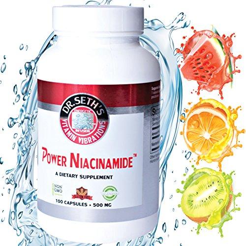 Nicotinamide 500 mg 100 Veggie Capsules - Vitamin B3 Niacinamide - Flush Free Niacin - Support Energy Production, Circulation, Metabolism - Gluten Free - Vegetarian - Non GMO - GMP- By Dr. Seth's