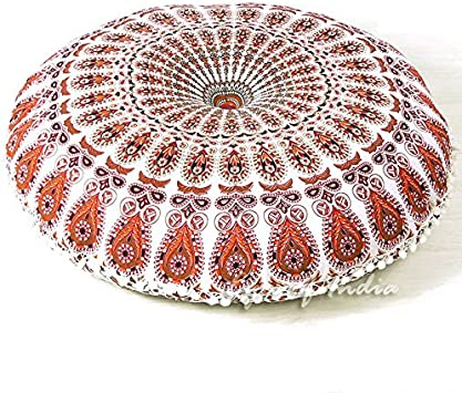 32 Blue White Floor Meditation Pillow Cushion Seating Throw Cover Hippie Mandala Round Colorful Decorative Bohemian Accent Indian Boho Chic Dog Bed Handmade Cover ONLY Eyes of India