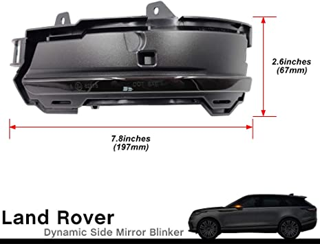 Smoked Lens Range Rover Dynamic LED Side Mirror Blinker for 2012-2020 Land Rover Evoque//2015-2020 Land Rover Discovery Sport//2018-2020 Land Rover Velar LED Side Mirror Turn Signal Lights