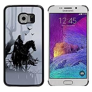 QCASE / Samsung Galaxy S6 EDGE SM-G925 / caballero caballo negro crowm a caballo cuento de hadas del bosque / Delgado Negro Plástico caso cubierta Shell Armor Funda Case Cover