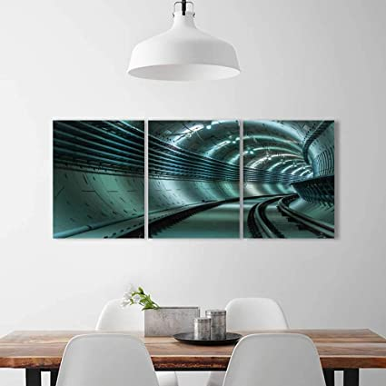 Philiphome Wall Art Living Room Decor 3 Piece Set Frameless Underground Tunnel Blue Lights Angle Shot