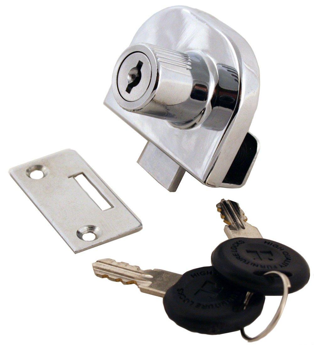 FJM Security MEI-0248-KA Double Glass Door Lock with Chrome Finish Keyed Alike
