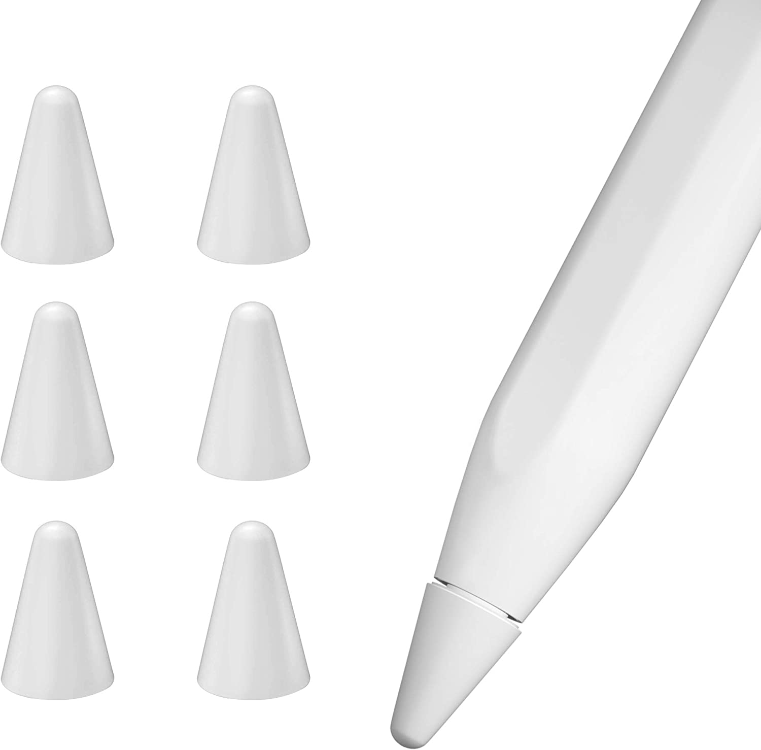 pzoz Protector Case Compatible with Apple Pencil Tips for 1st & 2nd Generation, Silicone Nibs Cover for iPad Pencil Tips and Replacement Writing Protection (6 Pcs) (White)