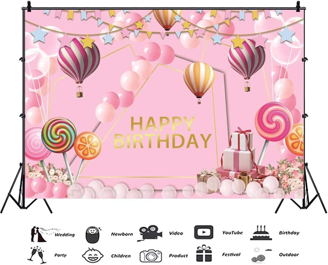 Yeele Birthday 10x8ft Photography Background Birthday Party Lollipop Gift Box Balloon Pennant Flower Cluster Pink Style Photo Backdrop Baby Child Portrait Shooting Studio Props Wallpaper