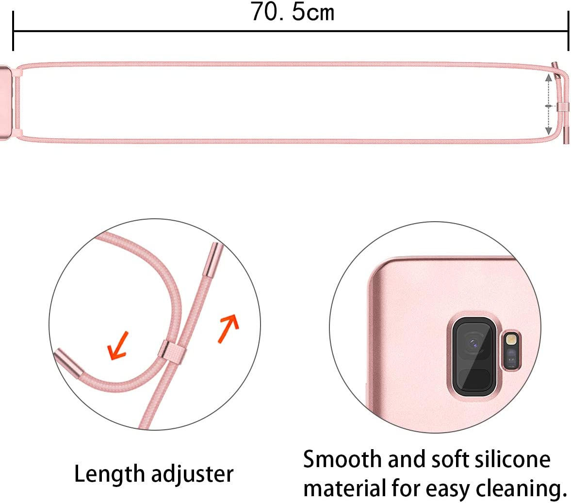 Tour de Cou Lani/ère en Corde Etui de T/él/éphone avec Cordon SURITCH Collier pour Samsung S9 Coque avec Protecteur d/écran Silicone Housse avec Cordage Lanyard Case pour Samsung Galaxy S9 Or Rose