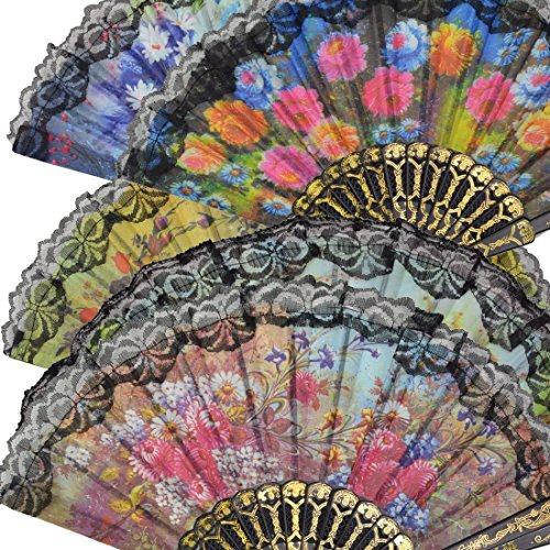 Windspeed Spanish Women Floral Folding Hand Fan Size 9'' Pack of 10 Pieces Random Color by Windspeed (Image #2)