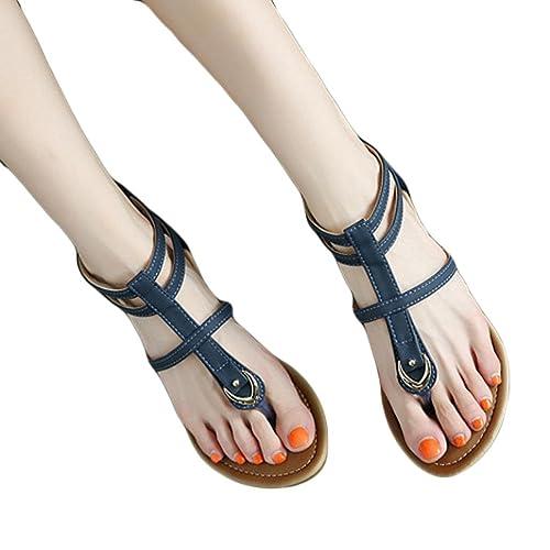 927d8f2f7b694 Amazon.com   Women Sandals Buckle Boho Peep-Toe Slipper Outdoor ...