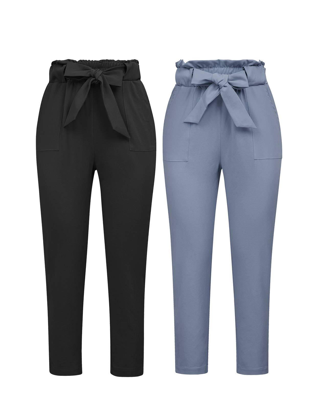 GRACE KARIN Women's Pants Trouser Slim Casual Cropped Paper Bag Waist Pants with Pockets (Small, Black+Blue-Gray)