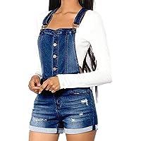 RuiyouQQ Mono Mujer Peto Vaqueros Overalls Denim Jeans Elásticos Mamelucos Vaqueros Pantalones Corta Casual Elegante…