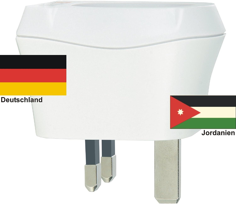 Design Reisestecker Adapter Jordanien auf Deutschland, Schukostecker 230V, Umwandlungsstecker JO-D Reise-net