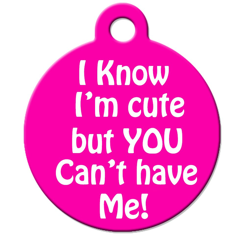 Funny Dog Cat Pet ID Tag - ''I Know I'm Cute But You Can't Have Me'' - Personalize ...