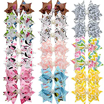 "Lclhb® 20pcs 3"" Baby Girl Children Hair Bows Hair Clips Alligator Clip 10 Colors HW11"