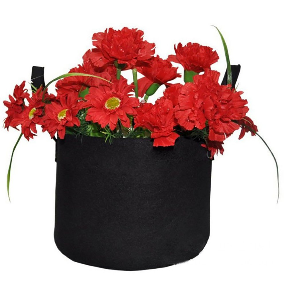 Jing Yi Plant Grow Bag Pots Breathable Nonwoven Fabric,Lightweight,Easy to Carry Vegetable Grow Bags with Strap Handles Eco-Friendly Grow Containers (Black) 5 PCS by Jing Yi