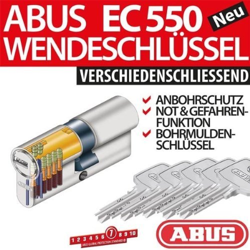 ABUS Profilzylinder Zylinder Tü rzylinder EC550 EC 550 inkl. 5 Schlü ssel 30/40 512643