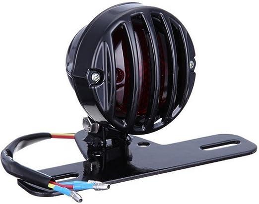Dlll Grill Motorrad Retro Metall Led Rücklicht Bremse Stop Kennzeichenbeleuchtung Lampe Rücklicht Universal Beleuchtung
