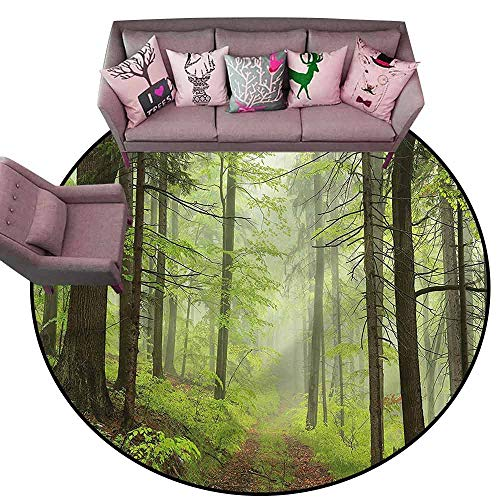 Alder Set Bedroom Set - Non-Slip Bath Hotel Mats Outdoor,Trail Trough Foggy Alders Diameter 54