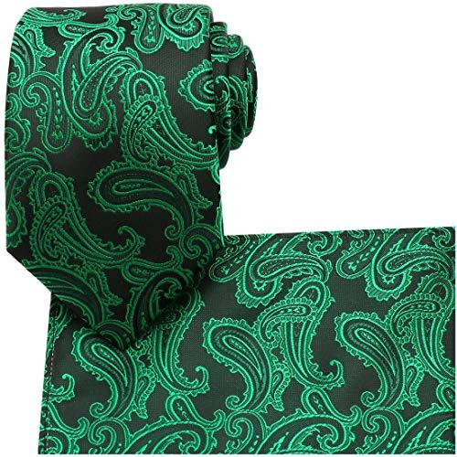 KissTies Green Black Tie St. Patrick's Day Necktie Irish Ties + Pocket Square ()