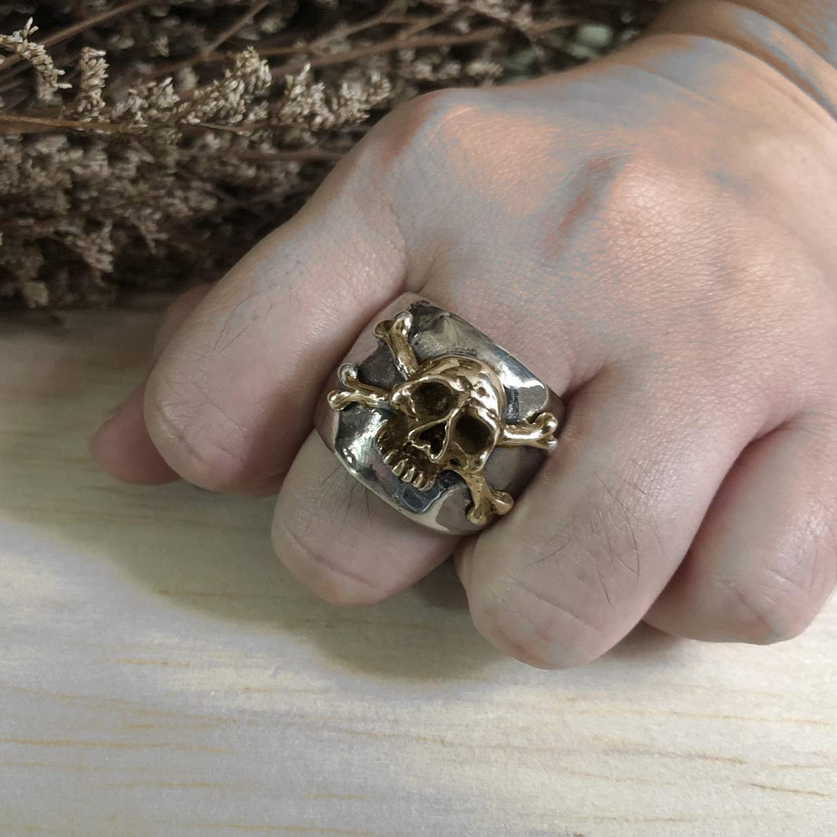 Handmade Mexican Sterling Silver Vintage Style Caribbean Pirate Skull and Crossbones Ring - DeluxeAdultCostumes.com