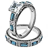 Women's Stainless Steel 316 Cubic Zirconia Antique Design Wedding Ring Set Size 8