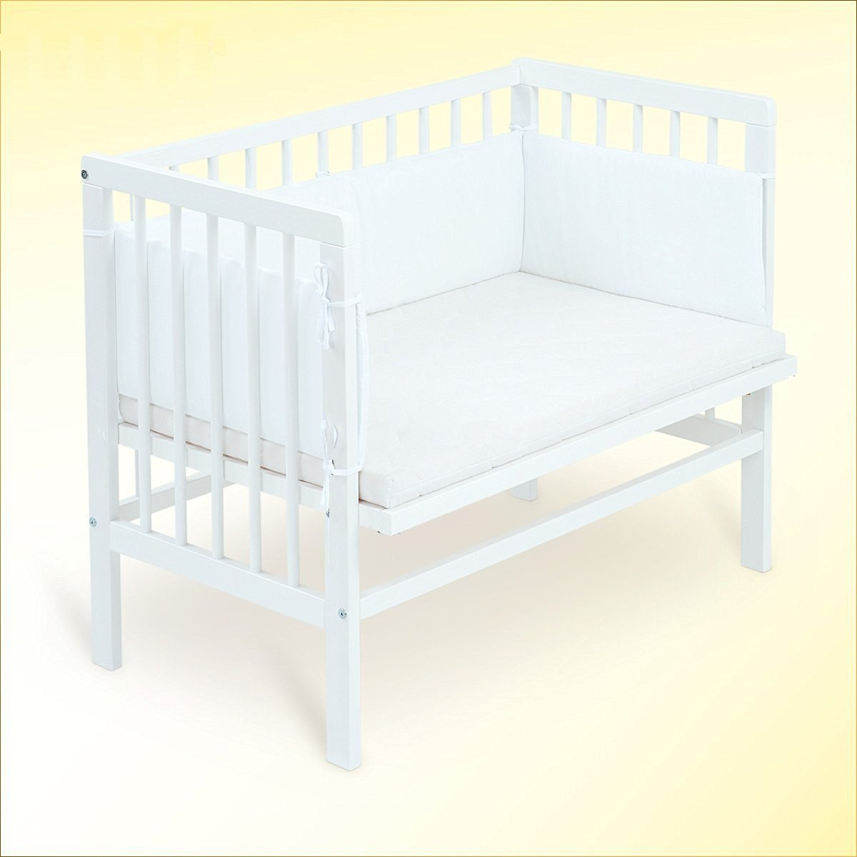 Baby Bedside Co Sleeper Cot Bed Side by Side with Free Mattress (White with Fitted Sheet and Bumper) B4Beds©