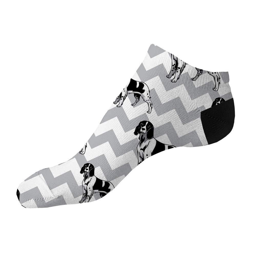 French Spaniel Dog Gray Zigzag Pattern Men-Women Adult Ankle Socks