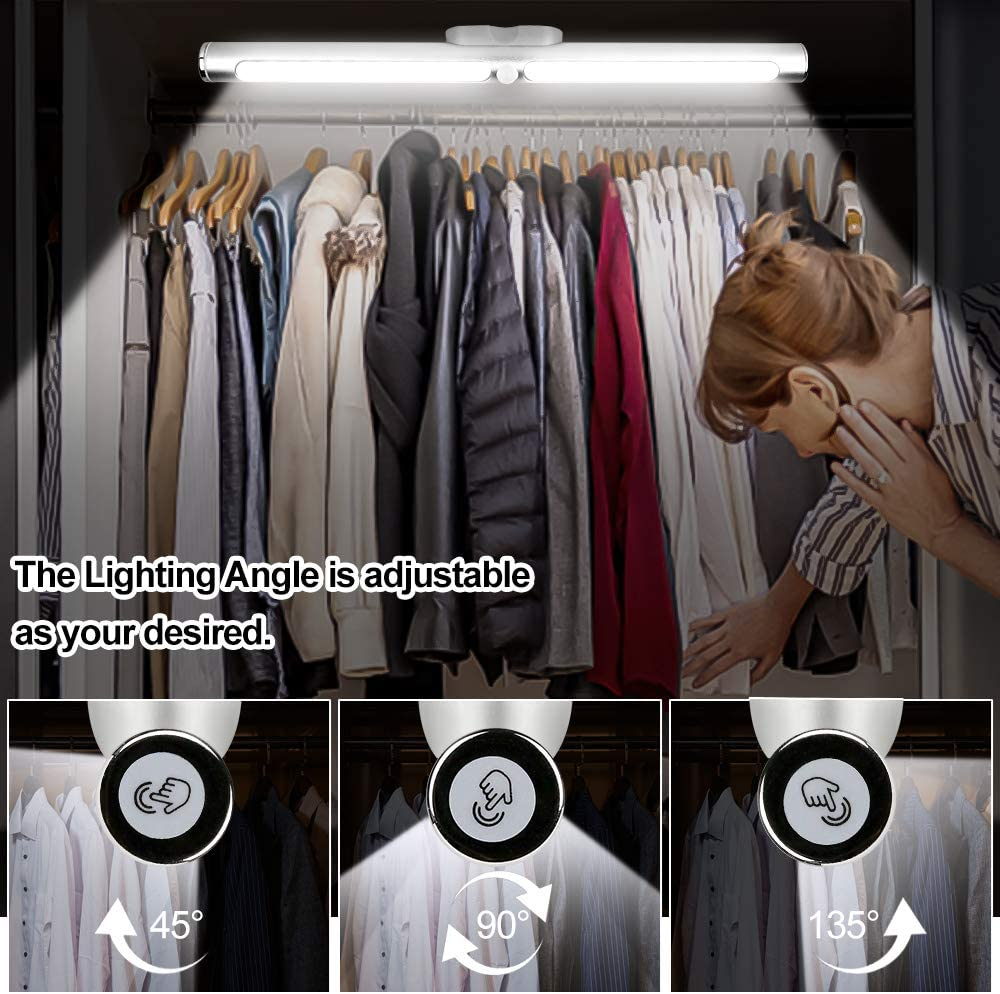Rechargeable 22-LED Under Cabinet Lighting Fixture Motion Sensor Closet Lights CFGROW Indoor Wireless LED Night Wall Lamp Touch Control Stick-Anywhere for Bed Stairs Kitchen Wardrobe Hallway